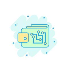 Digital wallet icon in comic style crypto bag vector