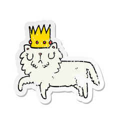 distressed sticker of a cartoon cat wearing crown vector image