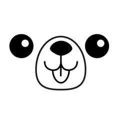 dog happy square face head icon contour line vector image