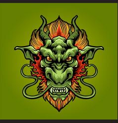 dragon head logo mascot vector image