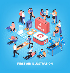 First aid isometric composition vector