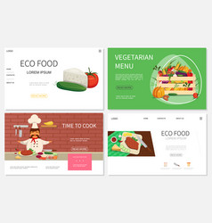 flat healthy food websites set vector image