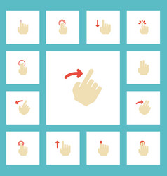 Flat icons rearward single tap touchscreen and vector