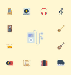 Flat icons tambourine turntable musical vector