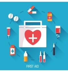 flat medicine equipment set icon concept on vector image