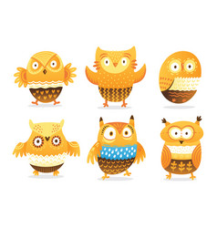 funny owls collection in cartoon style vector image