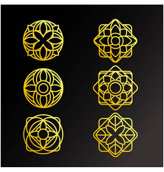 Gold ornament logo and icon design set ready to vector