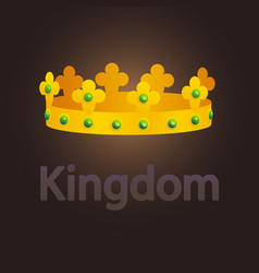 golden crown with emeralds vector image
