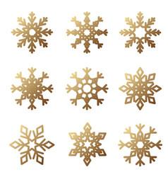 golden snowflake set vector image