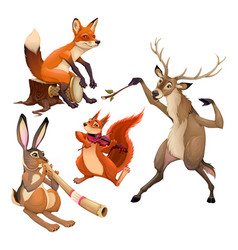 group of funny musician animals with conductor vector image