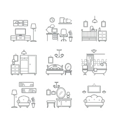 Home room icons set Interior design room types vector image