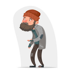 Homeless bum poor male character beg help money vector
