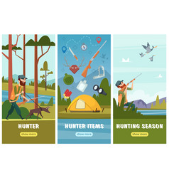 hunting banners man sniper with rifle binoculars vector image