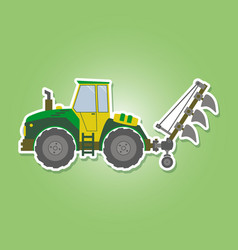 Icon with farm tractor vector