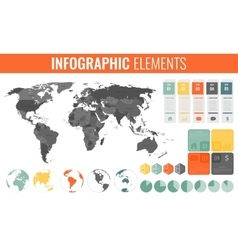 Infographic elements set world map markers vector
