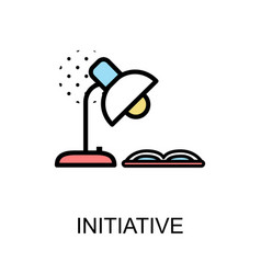 Initiative icon and desk lamp with book on white vector