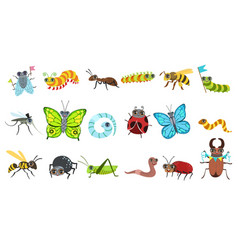 Insect cartoon images set vector