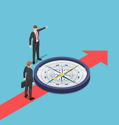 isometric businessman with compass advice his vector image