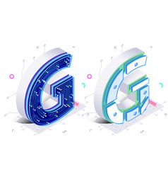 letters g with connecting elements vector image