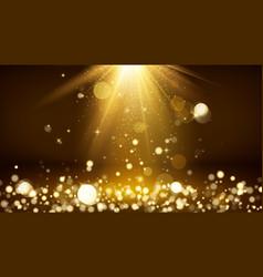 Light rays and golden falling glittering dust vector