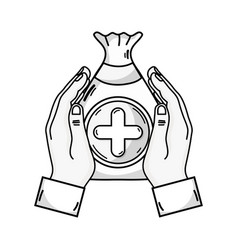 Line hands with bag dotation with heart and cross vector