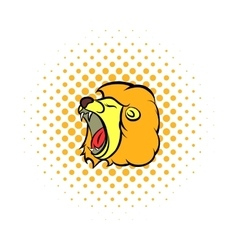 Lion head comics icon vector