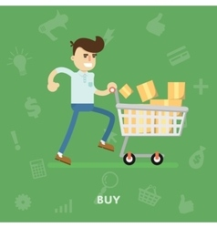 Man with a cart full of different goods vector