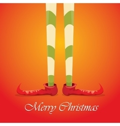 Merry christmas card with cartoon elfs legs vector