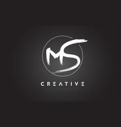 Ms brush letter logo design artistic handwritten vector