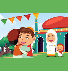 Muslims celebrating eid al fitr vector