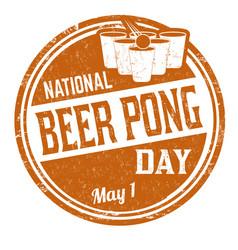 national beer pong day grunge rubber stamp vector image