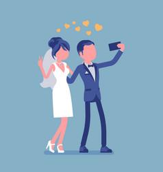 newlywed taking selfie by phone vector image