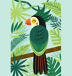 Parrot on branch among tropical plants vector