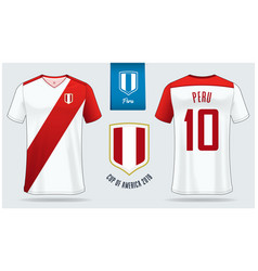Peru soccer jersey or football kit mockup vector