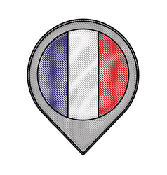 pointer map flag french paris location vector image