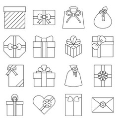 present envelop gift box and gift bag collection vector image