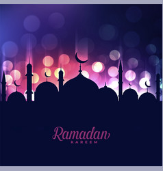 Ramadan kareem mosque on bokeh light background vector