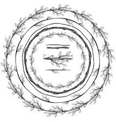 Round frame made of floral branches vector