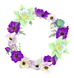 Round wreath with romantic violet and white vector
