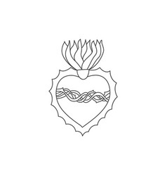 Sacred heart doodle vector