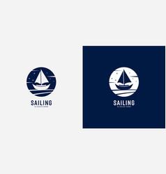 sailing yacht logo design vector image