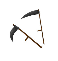 Scythe for grass set isolated on white background vector