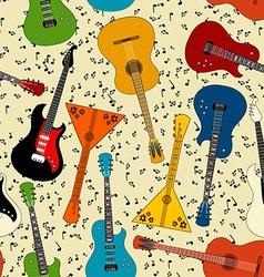 Seamless pattern of guitars vector
