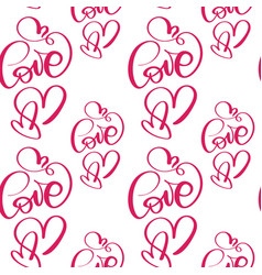 seamless pattern with hand painted valentine love vector image