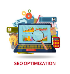 seo content optimization background laptop with vector image