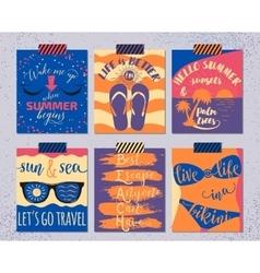 set retro summer cards beautiful vector image
