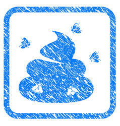 shit flies framed grunge icon vector image