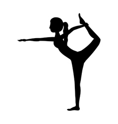 silhouette yoga woman lord of the dance pose two vector image