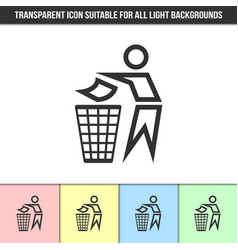 simple outline transparent trash bin man icon on vector image