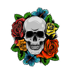 Skull wrapped in roses flowers and leaves vector